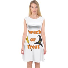 Twerk Or Treat   Funny Halloween Design Capsleeve Midi Dress
