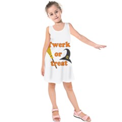 Twerk Or Treat   Funny Halloween Design Kids  Sleeveless Dress