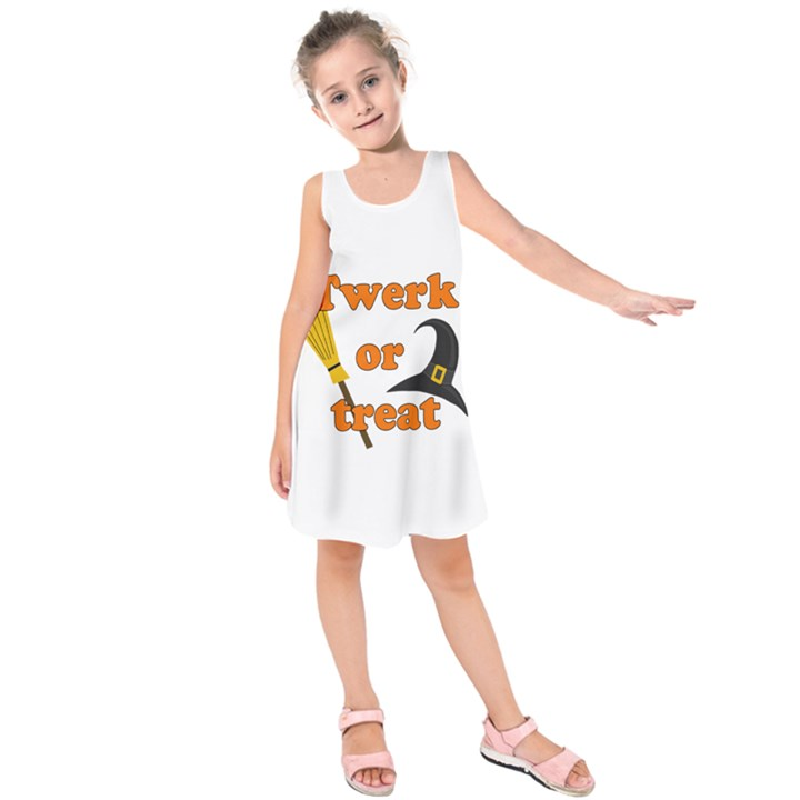 Twerk or treat - Funny Halloween design Kids  Sleeveless Dress