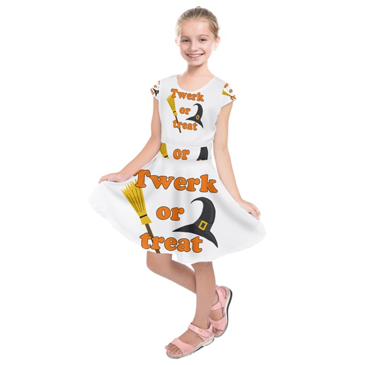 Twerk or treat - Funny Halloween design Kids  Short Sleeve Dress