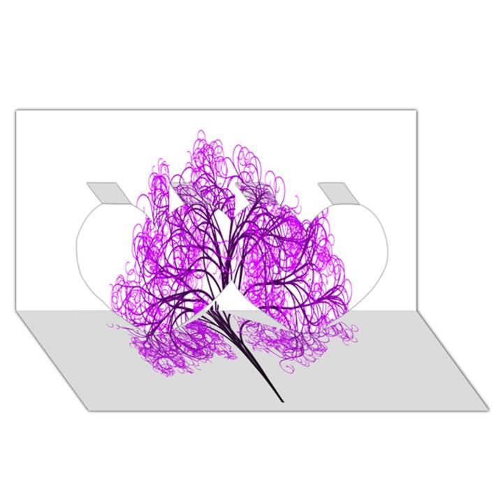 Purple Tree Twin Hearts 3D Greeting Card (8x4)