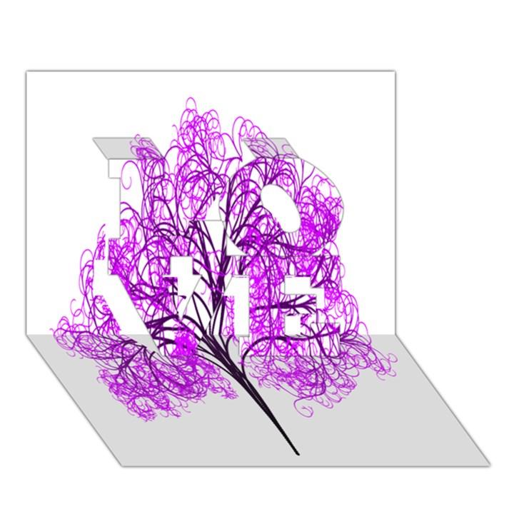 Purple Tree LOVE 3D Greeting Card (7x5)