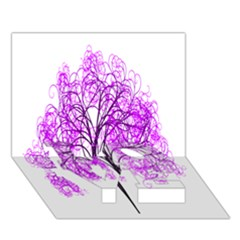 Purple Tree LOVE Bottom 3D Greeting Card (7x5)