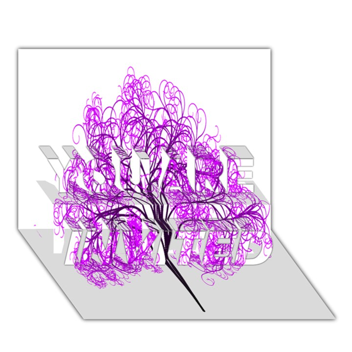 Purple Tree YOU ARE INVITED 3D Greeting Card (7x5)