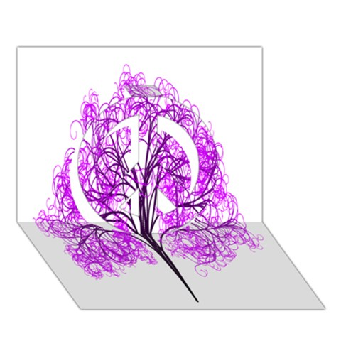 Purple Tree Peace Sign 3D Greeting Card (7x5)