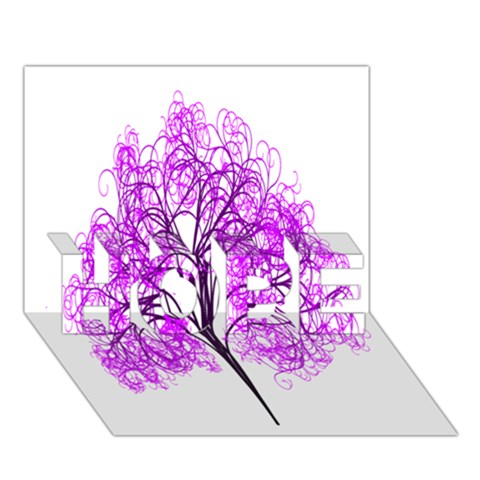 Purple Tree HOPE 3D Greeting Card (7x5)