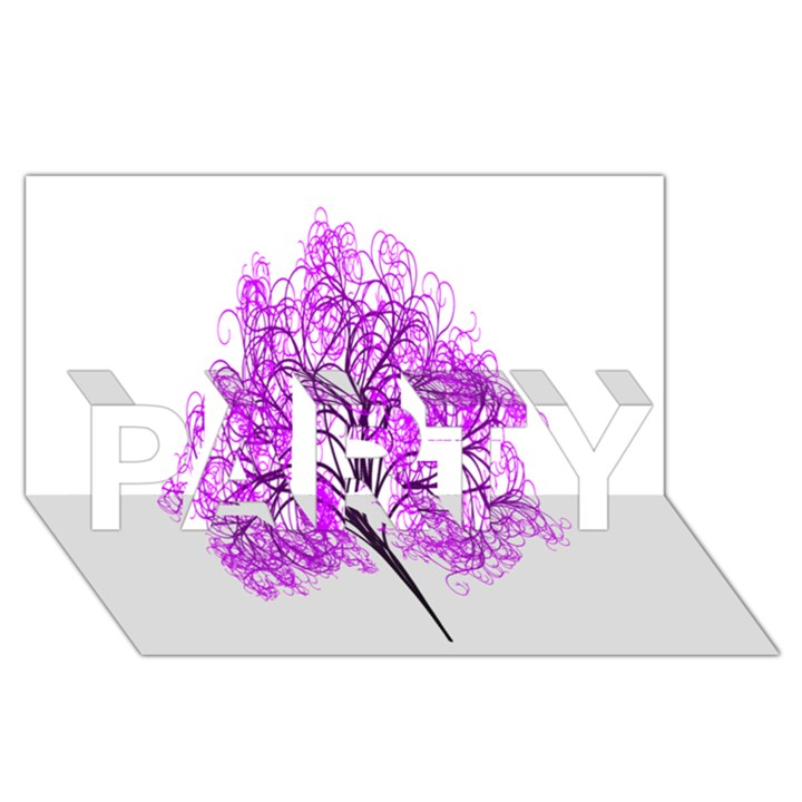 Purple Tree PARTY 3D Greeting Card (8x4)