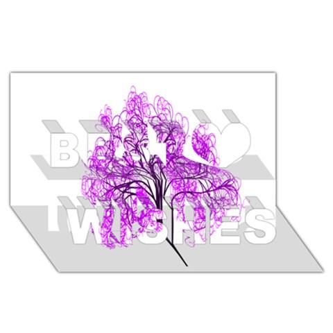 Purple Tree Best Wish 3D Greeting Card (8x4)