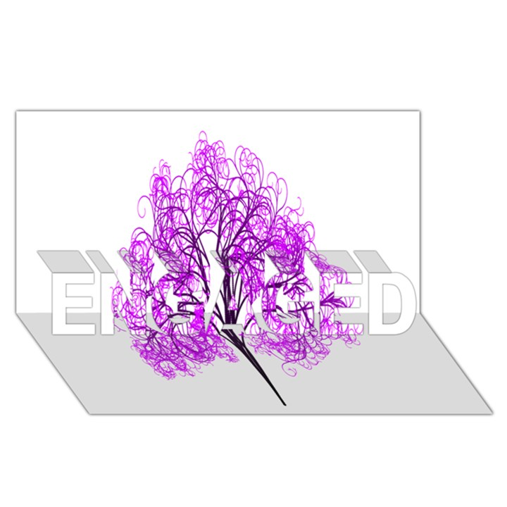 Purple Tree ENGAGED 3D Greeting Card (8x4)