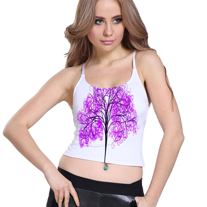Purple Tree Spaghetti Strap Bra Top