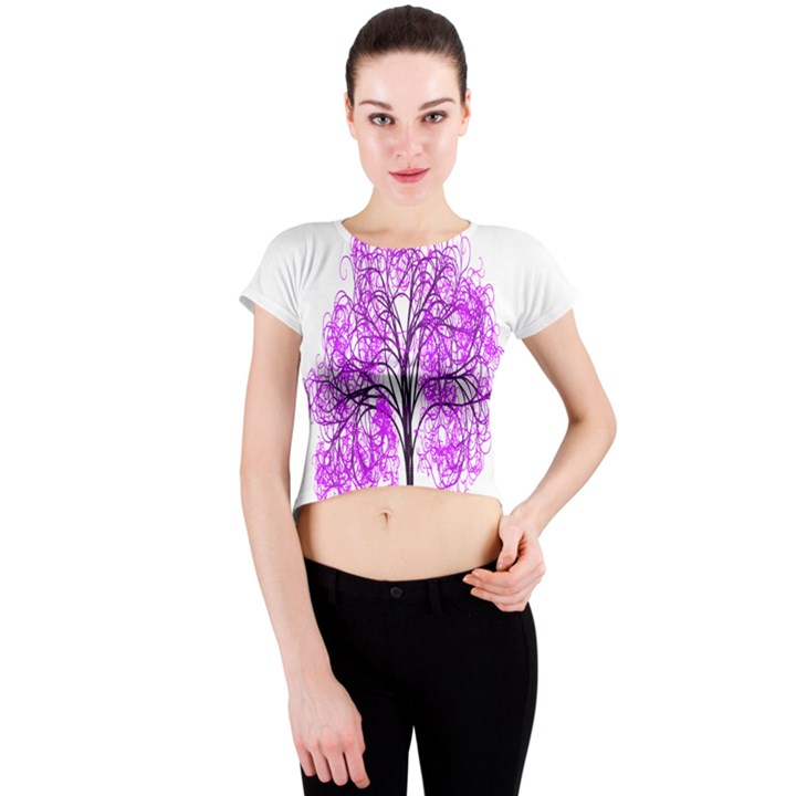 Purple Tree Crew Neck Crop Top