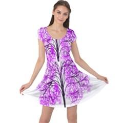 Purple Tree Cap Sleeve Dresses