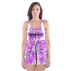 Purple Tree Skater Dress Swimsuit