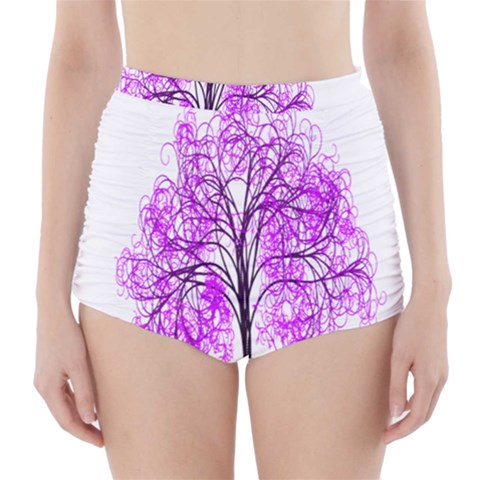 Purple Tree High-Waisted Bikini Bottoms