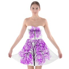 Purple Tree Strapless Bra Top Dress
