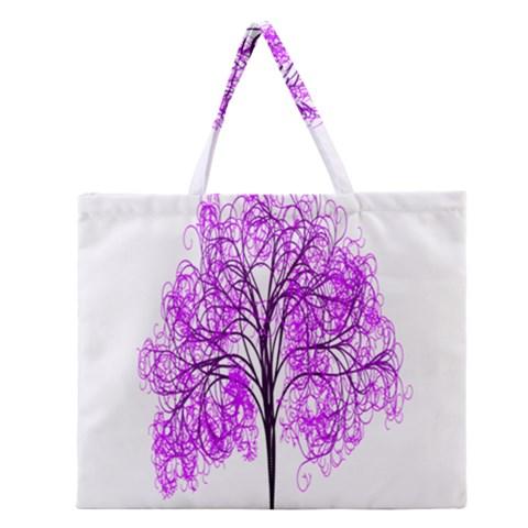 Purple Tree Zipper Large Tote Bag