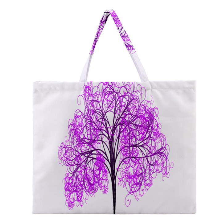 Purple Tree Zipper Large Tote Bag