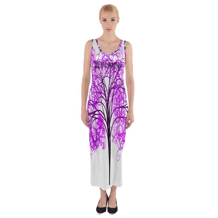 Purple Tree Fitted Maxi Dress