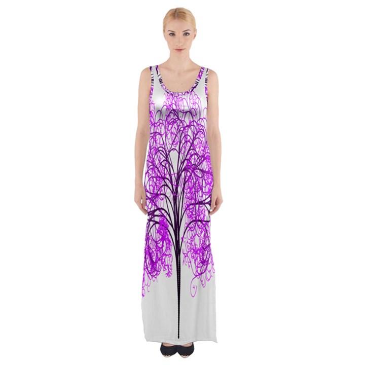 Purple Tree Maxi Thigh Split Dress