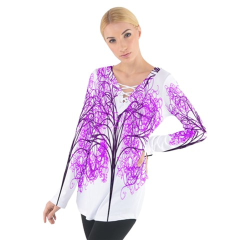 Purple Tree Women s Tie Up Tee