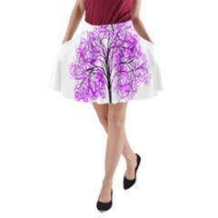 Purple Tree A-Line Pocket Skirt