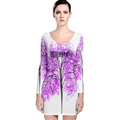 Purple Tree Long Sleeve Velvet Bodycon Dress