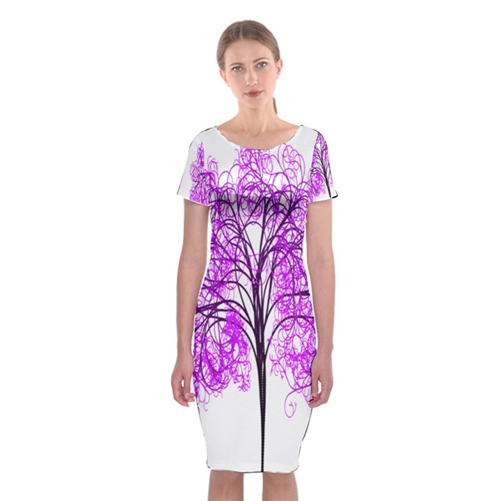 Purple Tree Classic Short Sleeve Midi Dress