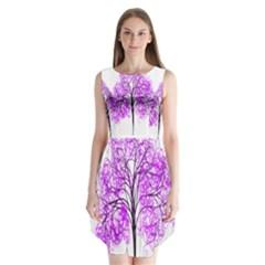 Purple Tree Sleeveless Chiffon Dress