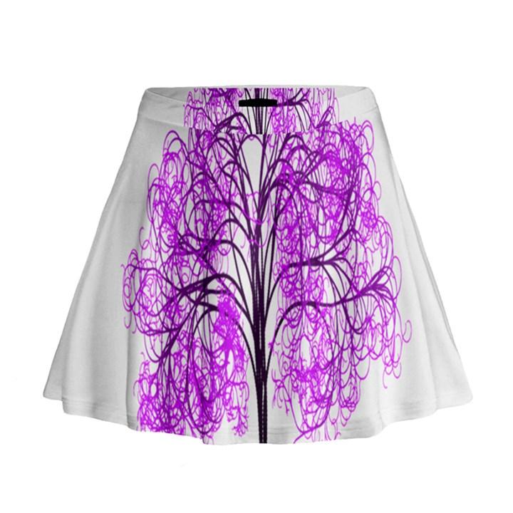Purple Tree Mini Flare Skirt