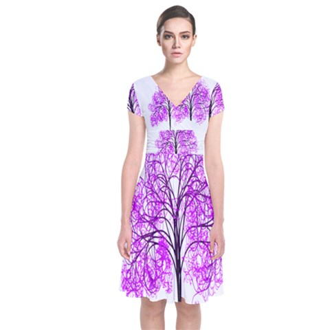 Purple Tree Short Sleeve Front Wrap Dress