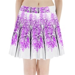Purple Tree Pleated Mini Skirt