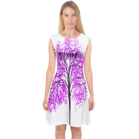 Purple Tree Capsleeve Midi Dress