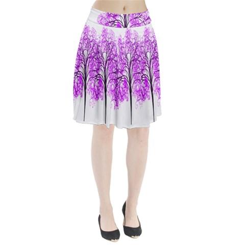 Purple Tree Pleated Skirt