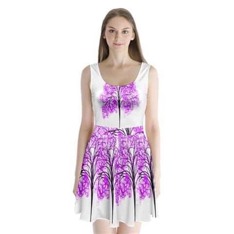 Purple Tree Split Back Mini Dress