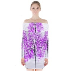 Purple Tree Long Sleeve Off Shoulder Dress