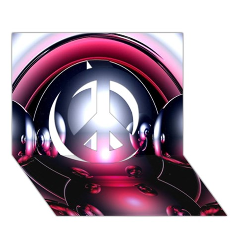 Red 3d  Computer Work Peace Sign 3D Greeting Card (7x5)