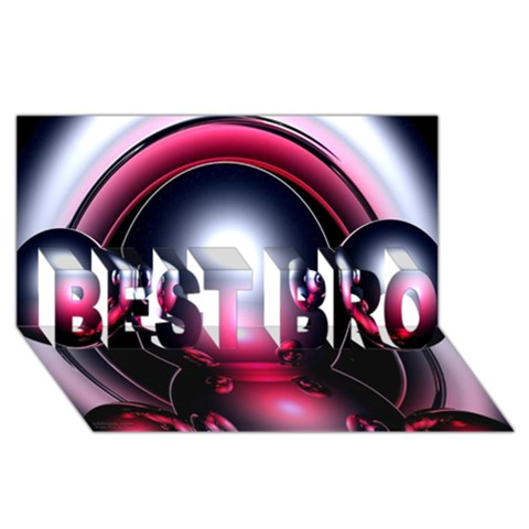 Red 3d  Computer Work BEST BRO 3D Greeting Card (8x4)