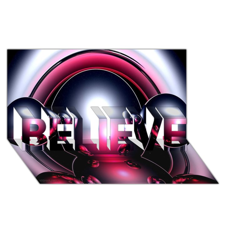 Red 3d  Computer Work BELIEVE 3D Greeting Card (8x4)
