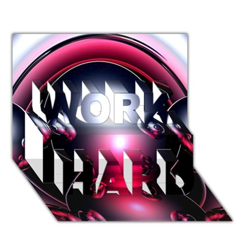 Red 3d  Computer Work WORK HARD 3D Greeting Card (7x5)