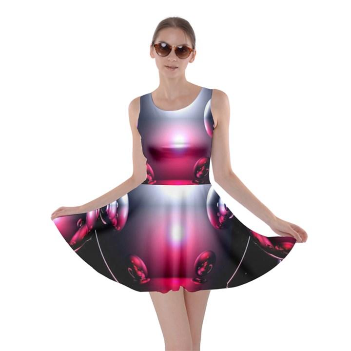 Red 3d  Computer Work Skater Dress