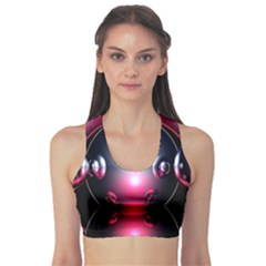 Red 3d  Computer Work Sports Bra