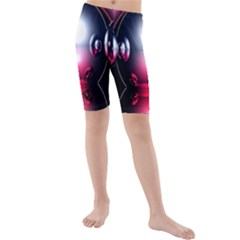 Red 3d  Computer Work Kids  Mid Length Swim Shorts