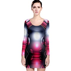 Red 3d  Computer Work Long Sleeve Bodycon Dress