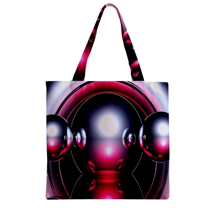 Red 3d  Computer Work Zipper Grocery Tote Bag