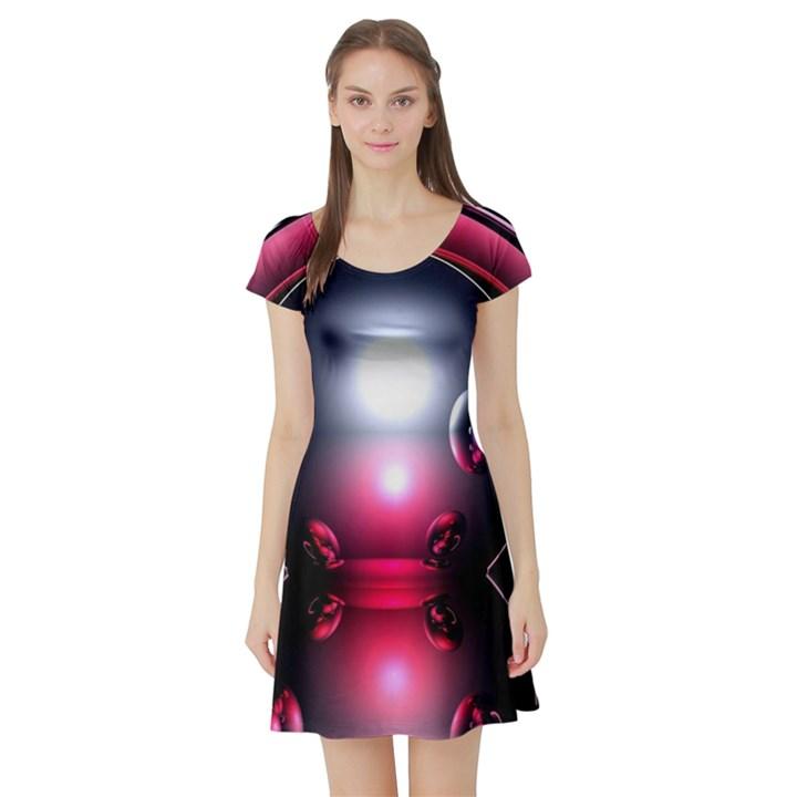 Red 3d  Computer Work Short Sleeve Skater Dress