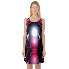 Red 3d  Computer Work Sleeveless Satin Nightdress