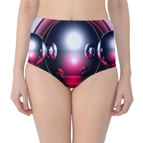 Red 3d  Computer Work High-Waist Bikini Bottoms