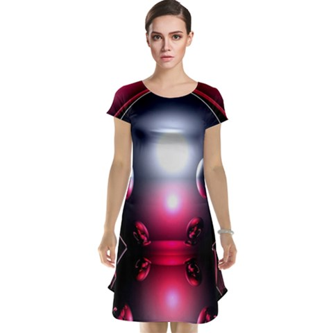Red 3d  Computer Work Cap Sleeve Nightdress