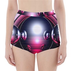 Red 3d  Computer Work High-Waisted Bikini Bottoms