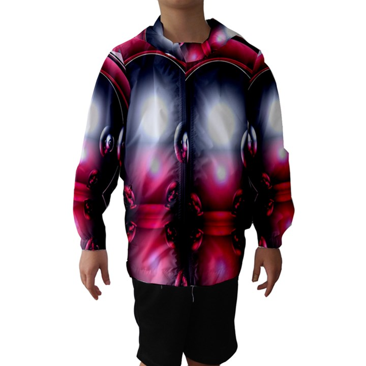 Red 3d  Computer Work Hooded Wind Breaker (Kids)